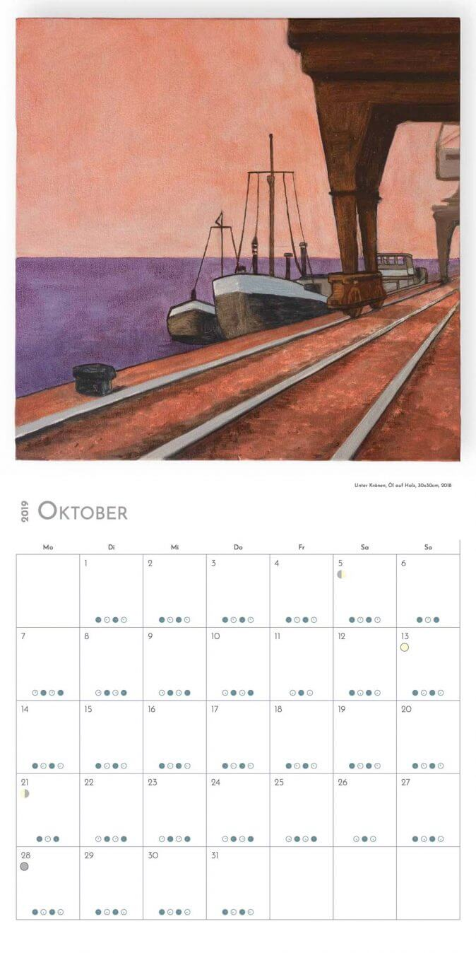 Jakobus Durstewitz - Gezeitenkalender - Oktober 2019 / Unter Kränen