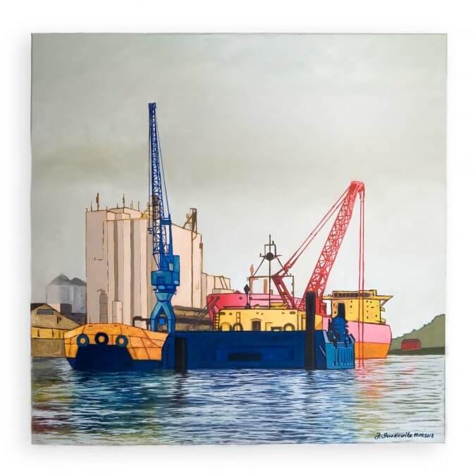 Jakobus Durstewitz - Hamburg - Bagger und Schute vor Speicher