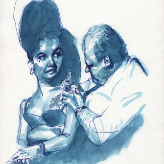 Max Müller - Aquarell - Amy Winehouse oder Elizabeth Taylor im Tattoo-Studio