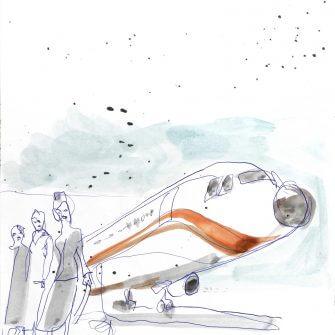 Max Müller - Aquarell - Flugzeug und Stewardessen