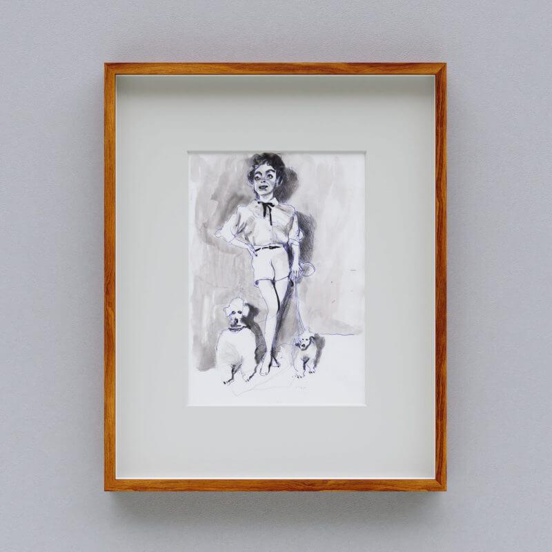 Max Müller - Aquarell - Frau mit Pudeln