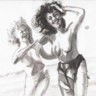 Max Müller - Aquarell - Frauen am Strand