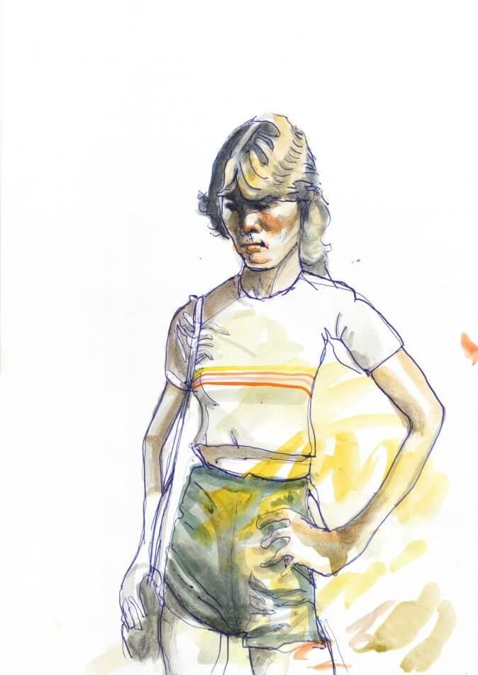 Max Müller - Aquarell - Mädchen in Shorts
