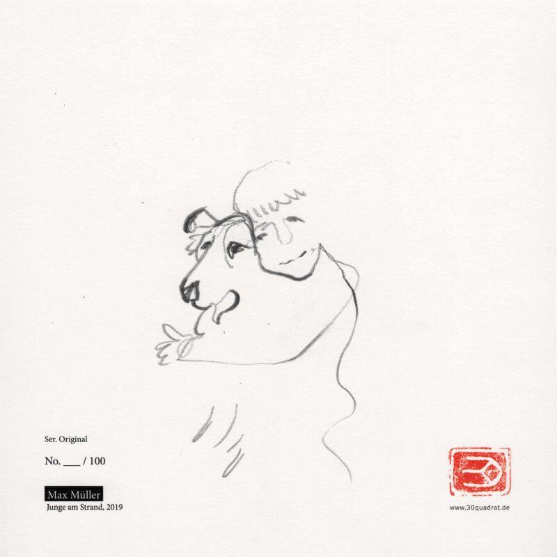 Max Müller, Lassie (Zeichnung auf Kunstdruck / Rückeite)