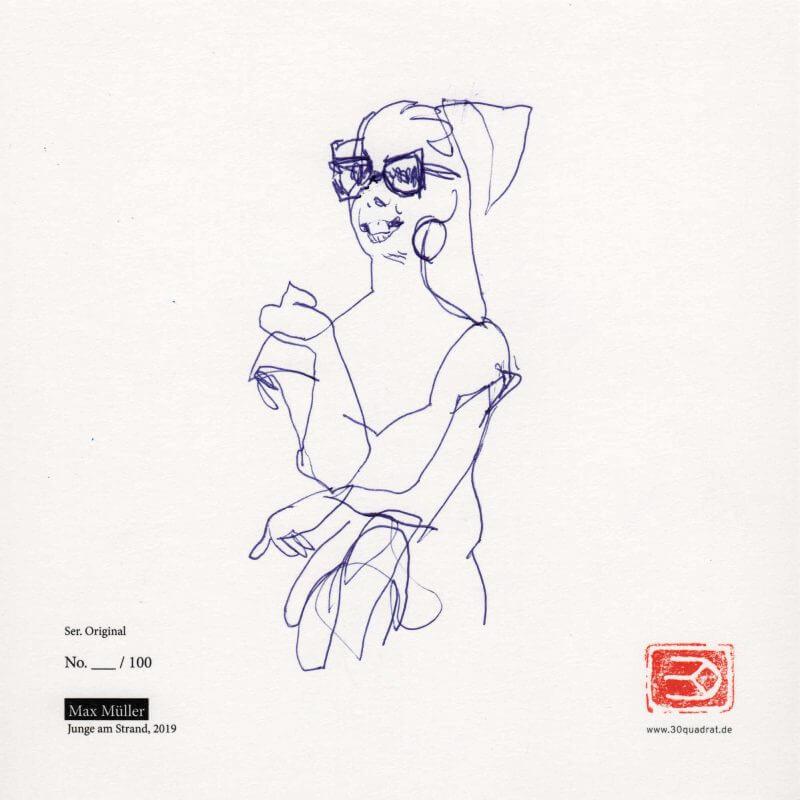 Max Müller, Frau mit Brille (Zeichnung auf Kunstdruck / Rückseite)