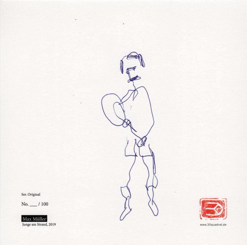 Max Müller, Tennisspieler (Zeichnung auf Kunstdruck / Rückseite)